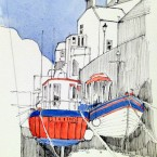 Red boats in Roxby 3